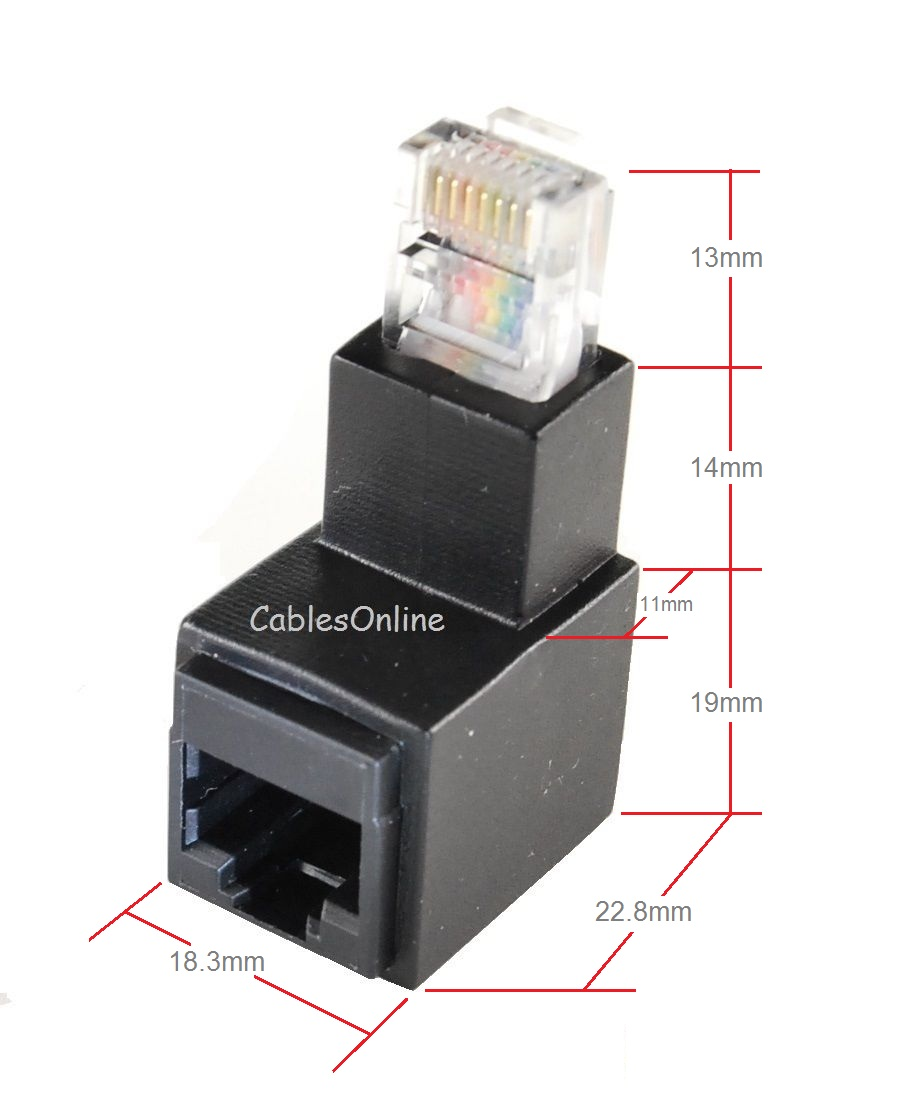 Cat5e/Cat6 Male/Female Right-Angle Adapter (Multi-Color)