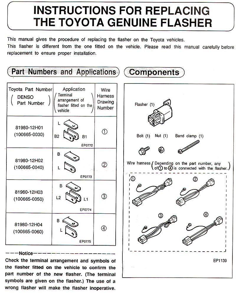 Toyota Switches Fj55 Wiring Diagram Flasher Installation Instructions Page 2
