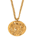 Kenneth Jay Lane Necklace Coin Pendant 17""