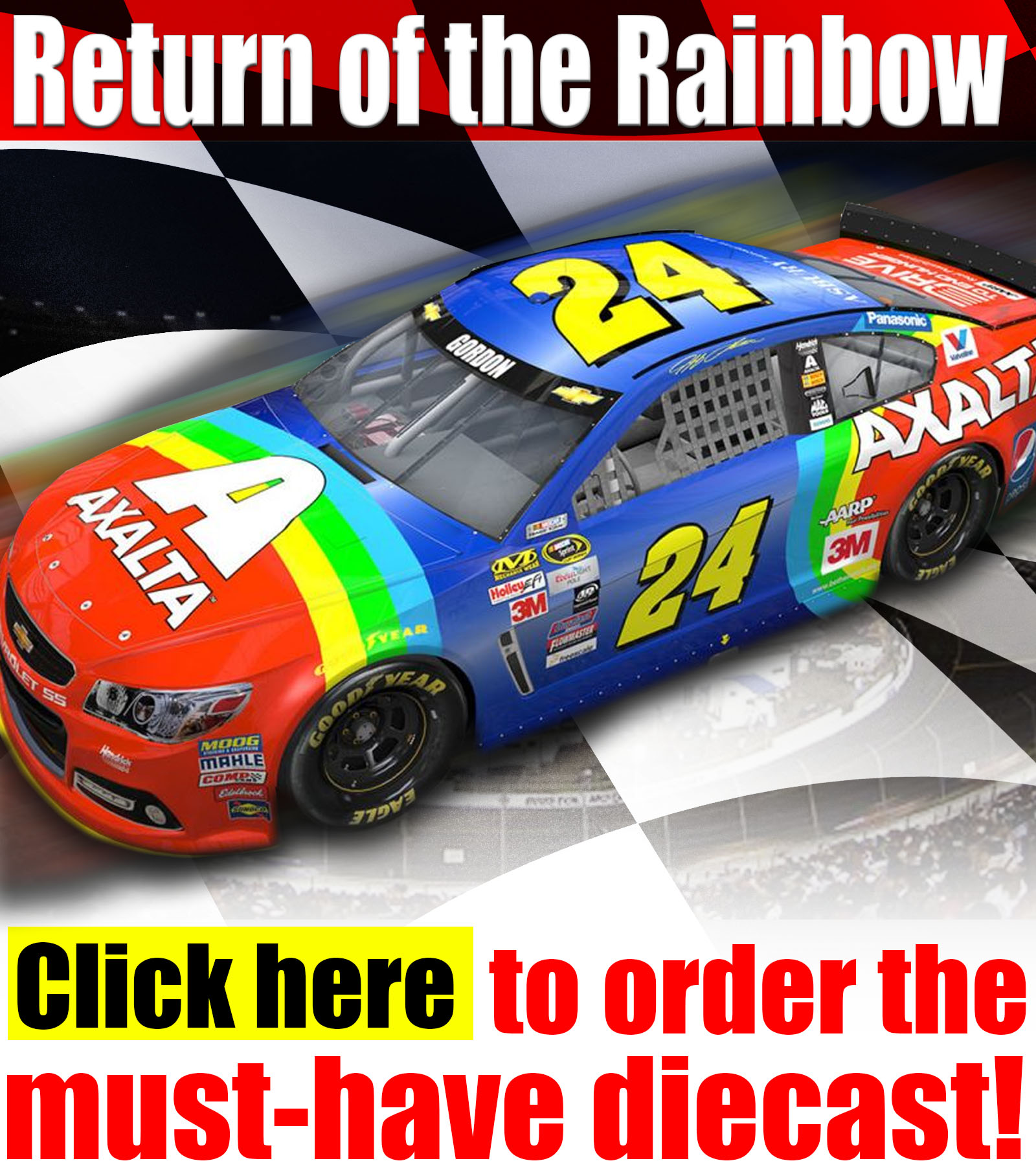 jeff gordon retro rainbow diecast