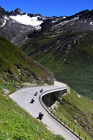riding european roads in the mountains