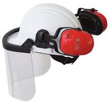 Howard Leight Thunder T1H Earmuffs - with hard hat and face shield