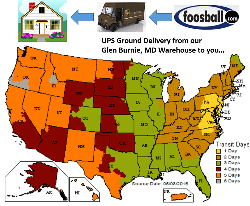 foosball.com shipping days