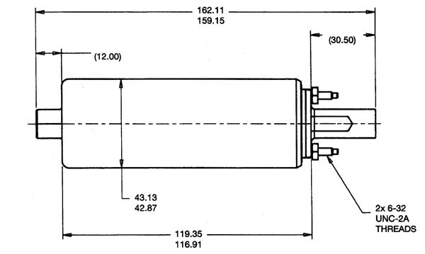 Walbro Inline Fuel Pump Specifications Drawing