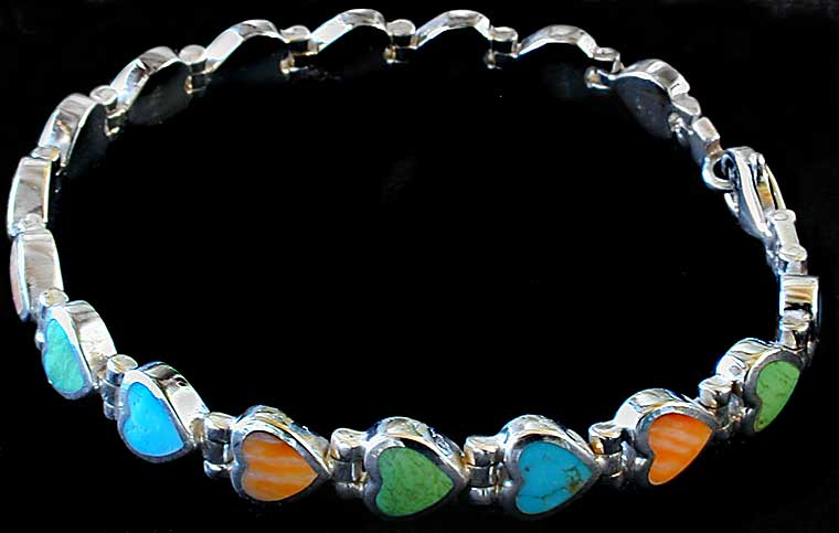 Peyote Bird Multi Stone Heart Inlay Bracelet