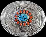 Navajo Silver, Turquoise & Coral Belt Buckle (image 1)
