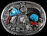 Bear claw turquoise Navajo belt buckle by M. Thomas, Jr (image 1)