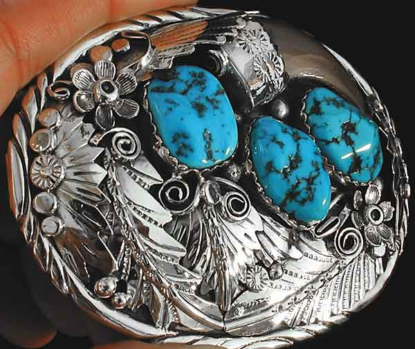 Navajo Bear Claw Turquoise Belt Buckle