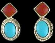 American Indian Coral & Turquoise Earrings 4
