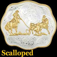 Team Ropers Buckle - Scalloped