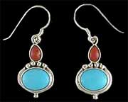 Navajo Indian Turquoise & Coral Earrings 2
