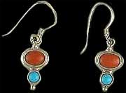 Indian Turquoise & Coral Earrings 3