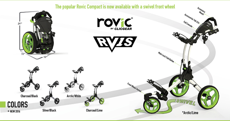Rovic RV1S Swivel Push Cart by Clicgear Specs