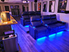 HT Design Pembroke Row of 3 Loveseat Right Side Facing & Row of 3 Sofa LED Base Lighting & Lighted Cupholders