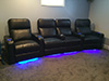 HT Design Southampton Curved Row of 4 Middle Loveseat with Portable Armrest Accessory, LED Cupholders & Baselighting