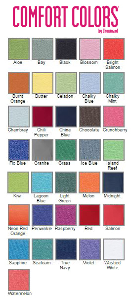 Comfortcolors color chart comfort colors color chart comfort