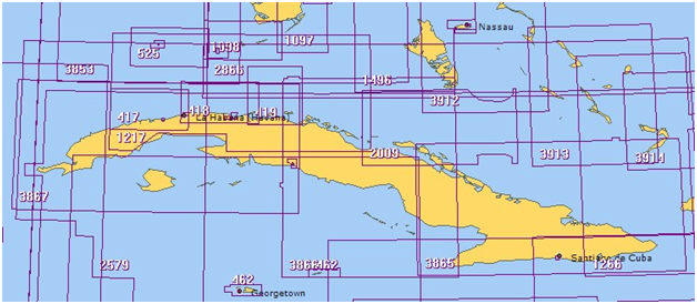 British Admirality Charts Numbers for Cuba