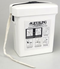 Inflatable Lifesling white compact fiberglass case