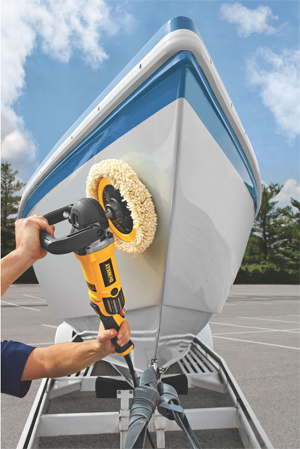 Use the DeWalt DWP849 Rotary Polisher on gel coat fiberglass boats and RVs.