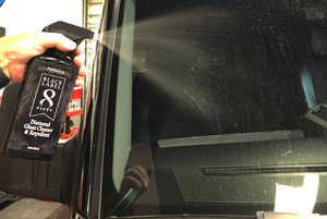 Just spray Pinnacle Black Label Diamond Glass Cleaner & Repellent liberally on the glass