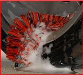 Clean from one side of  the wheel to the other with the 18 inch Speed Master Wheel Brush.