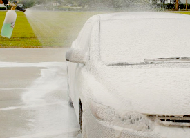 The Foam Cannon HP coats your vehicle in thick, clinging suds.