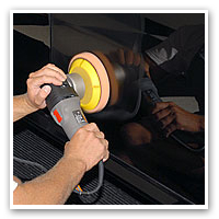 Use the orange light cutting pad on your Porter Cable 7424XP or FLEX XC 3401 polisher.