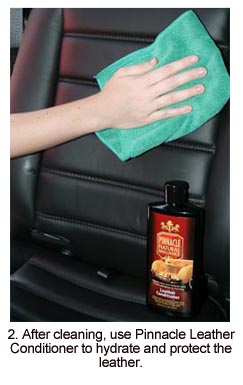 Apply Pinnacle Leather Conditioner to leather seats using a foam or microfiber applicator.