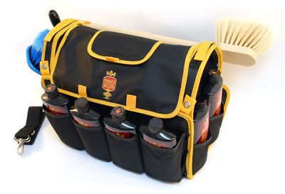 The Pinnacle Detailer's Bag has pockets for Pinnacle polishes and waxes, towels, applicators, your polisher, buffing pads, and more!