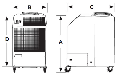 OceanAire AirBoss Portable Cooling Unit Dimension Diagram