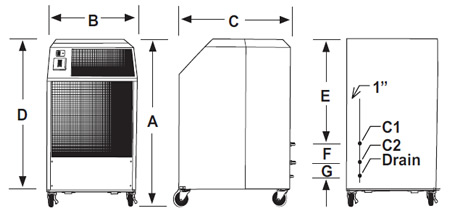 OceanAire Polaris Portable Cooling Unit Dimension Diagram