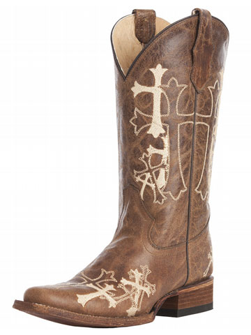 Embroidered Cross Boots L5042