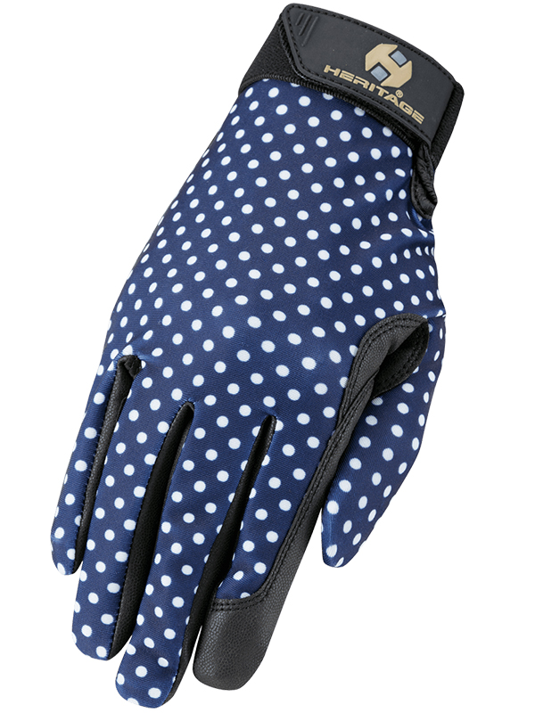 Heritage Navy Polka Dot Performance Gloves