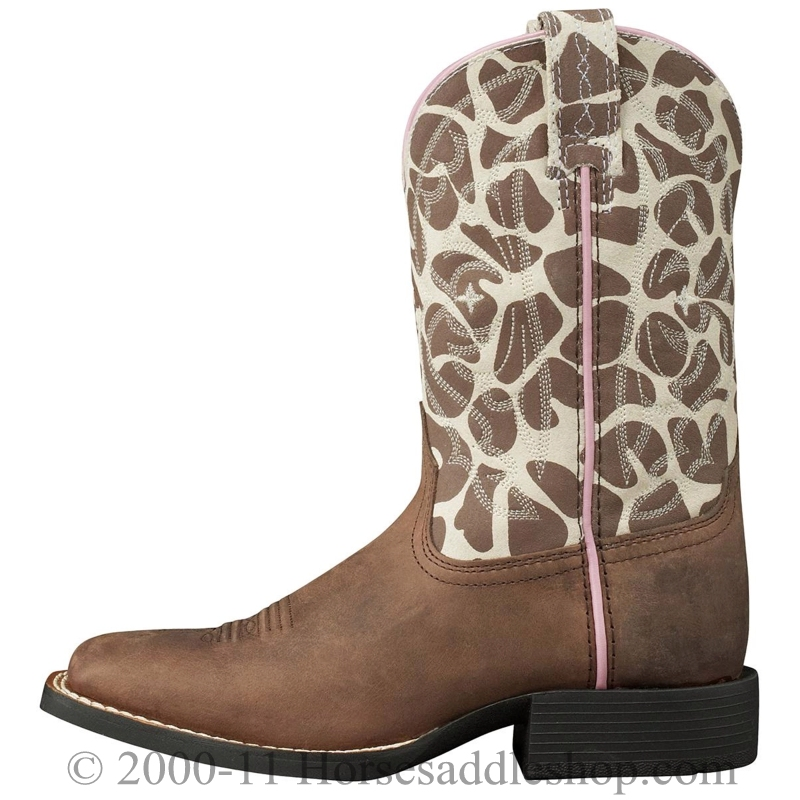 Ariat Kids Quickdraw Boots Wide Square Toe Brown Pull Up 10004854