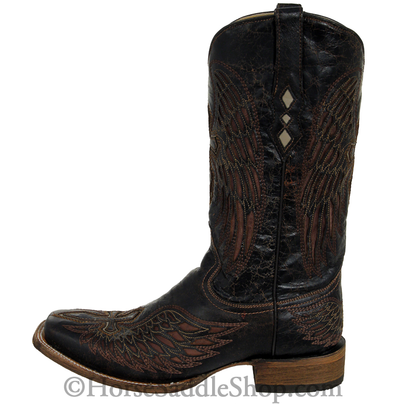 s corral distressed brown wing cross boots a1978
