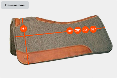 Standard Square Wool Felt Saddle Pad Dimensions