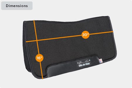 SMx Air Ride Western All Around Saddle Pad Dimensions