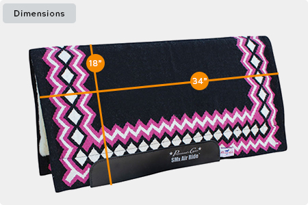 SMx Air Ride Western Show Saddle Pad Dimensions