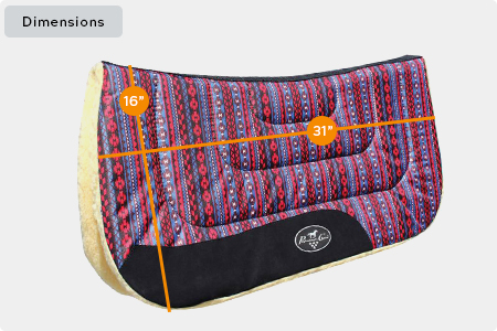 Contoured Work Saddle Pad Dimensions
