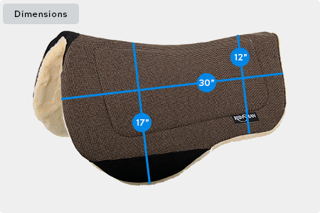 Contoured Trail Saddle Pad Dimensions