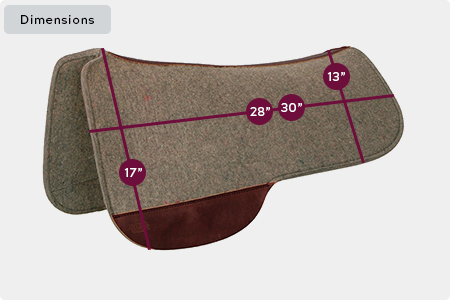 Full Skirt Wool Felt Saddle Pad Dimensions