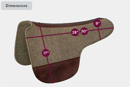 Round Skirt Wool Feltd Saddle Pad Dimensions