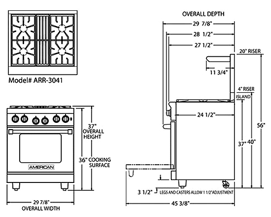 Pictures Of Stove Dimensions
