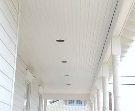 AZEK Brand Beadboard installed on Porch Ceiling