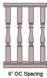 6'' On Center Baluster Spacing