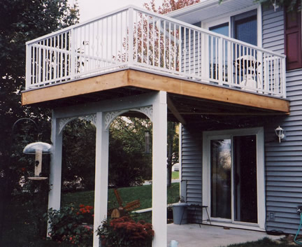 Porch With Balcony Or Deck Above