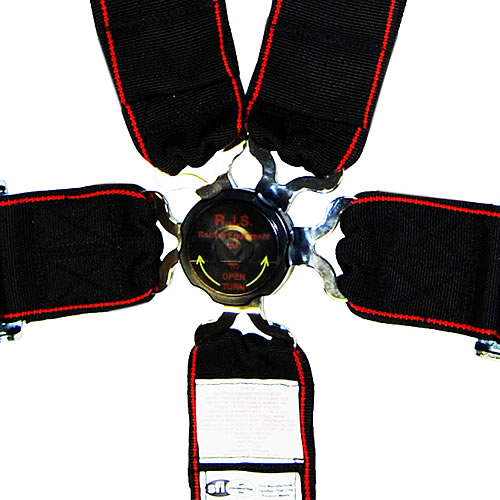 Sfi Camlock Closeup on 3 Point Seat Belt Harness Racing