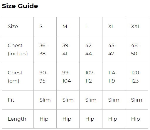 8k men size guide