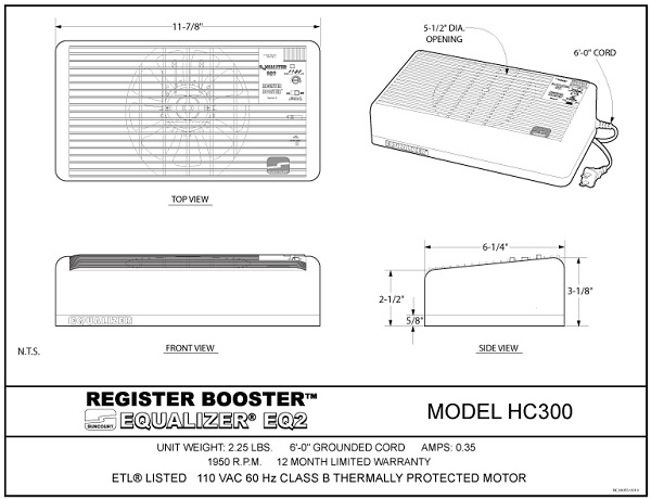 Suncourt Equalizer Register Booster My Cooling Store