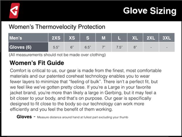 Gerbing's Women's Glove Sizing